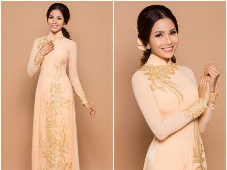 Áo dài cưới đẹp chất lụa màu hồng da nhẹ nhàng
