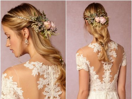 Tóc cô dâu đẹp thắt bím nửa đầu kết hợp vòng hoa lãng mạn