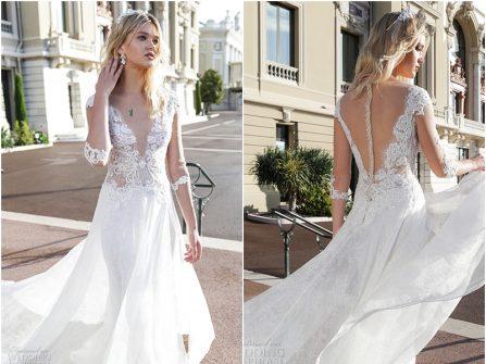 Váy cưới đẹp phối ren thêu và ren xuyên thấu quyến rũ