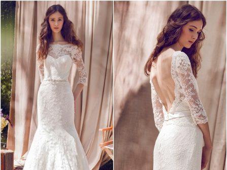 Váy cưới đẹp và duyên dáng tay lửng, chất liệu ren gợi cảm
