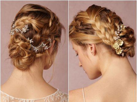 Tóc cô dâu đẹp kiểu thắt bím bới thấp kết phụ kiện tóc