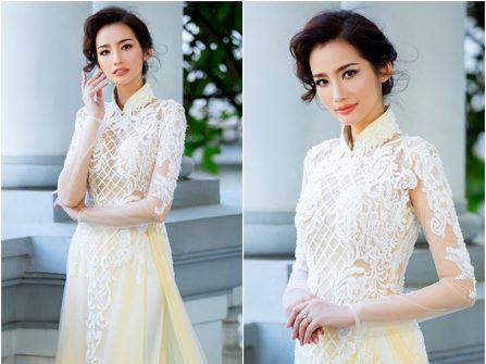 Áo dài cưới đẹp kết ren hoa lưới họa tiết nổi bật