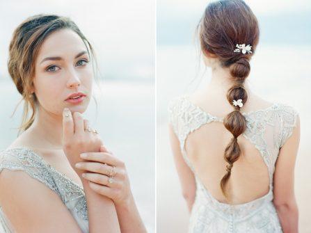 Tóc cô dâu cột đuôi ngựa đơn giản và hiện đại cho cô dâu cá tính