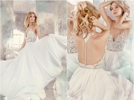 Váy cưới đẹp chất liệu chiffon bồng bềnh, thân áo đính đá