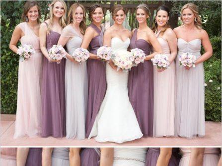 Đầm phụ dâu chất voan mềm mại tông tím đủ màu