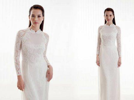 Áo dài cưới đẹp cách tân chất voan phối ren cầu kỳ