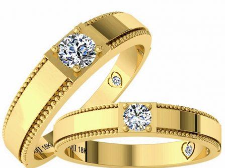 Nhẫn cưới vàng bản vuông đính kim cương tinh tế