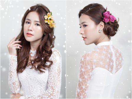 4 kiểu tóc cô dâu kết hoa tươi đơn giản để mặc áo dài cưới
