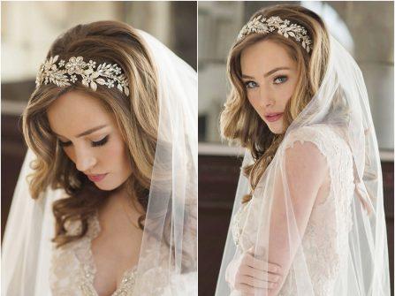Tóc cô dâu đẹp uốn lọn kết hợp băng đô đính đá và lúp voan