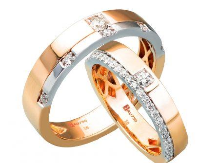 Nhẫn cưới vàng kết hợp vàng trắng mặt nhẫn đính kim cương