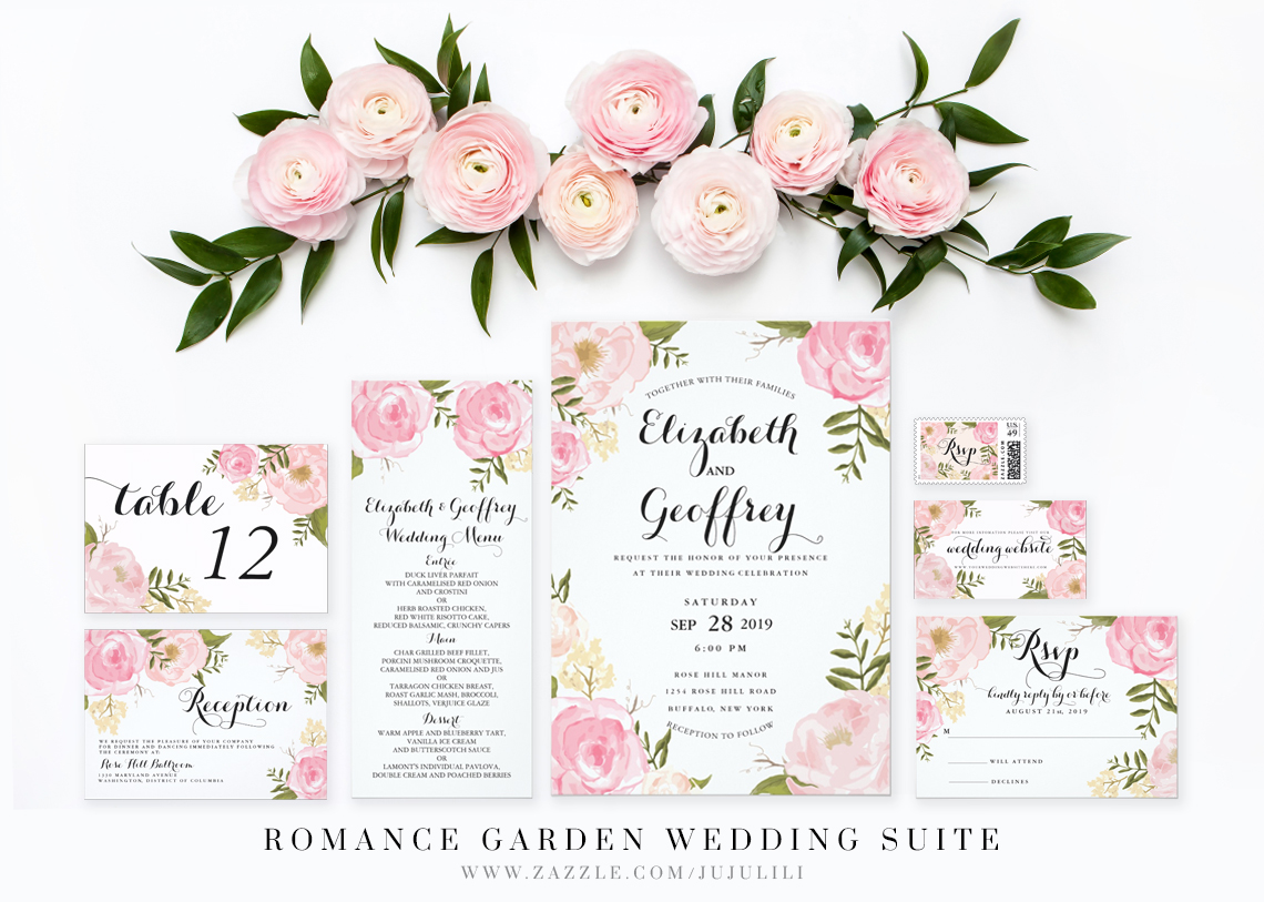 Thiệp cưới đẹp màu hồng pastel vẽ họa tiết hoa mao lương