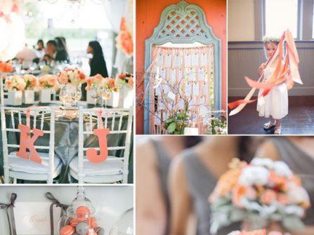 Theme cưới đẹp tông cam đào kết hợp xám tro thanh lịch