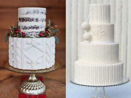 """Bánh cưới fondant họa tiết len đan - xu hướng bánh cưới """"hot"""" nhất đầu năm 2017"""
