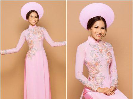Áo dài cưới đẹp chất lụa màu hồng phấn ngọt ngào