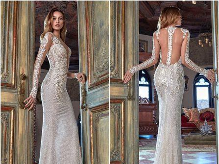 Váy cưới đẹp dáng đuôi cá tay dài chất ren kim tuyến sang trọng