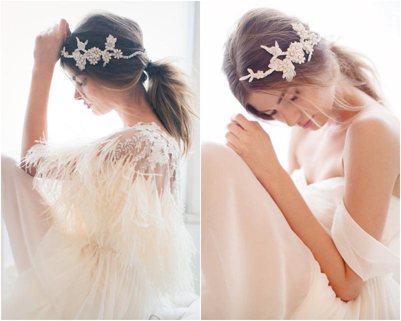 Tóc cô dâu đẹp đánh rối, buộc thấp kết hợp phụ kiện đá