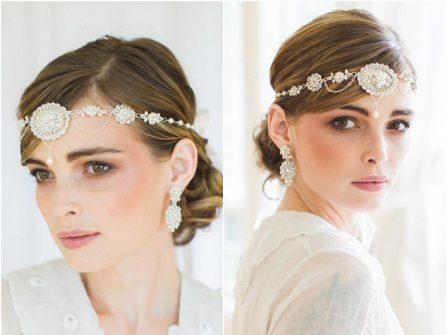 Tóc cô dâu đẹp bới thấp kết hợp phụ kiện cổ điển