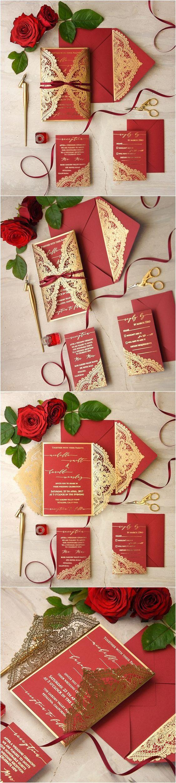 Thiệp cưới đẹp màu đỏ, cắt laser họa tiết cầu kỳ ánh kim nổi bật