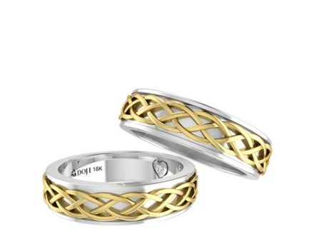 Nhẫn cưới đẹp và độc đáo với các họa tiết vàng xoắn cầu kỳ