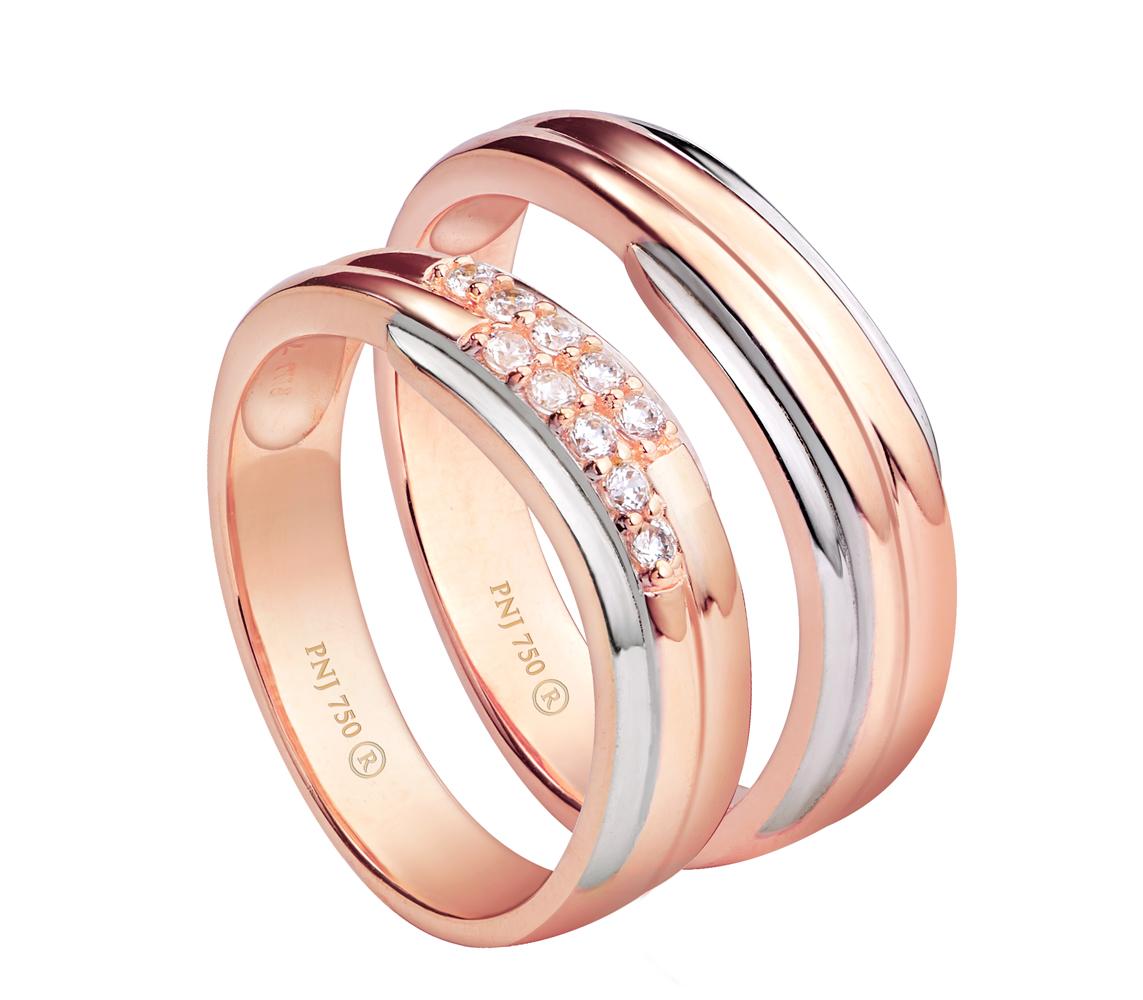 Nhẫn cưới vàng hồng bản nhẫn mảnh đan xen đính kim cương