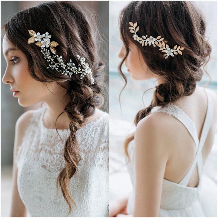 Tóc cô dâu đẹp thắt bím lệch cài phụ kiện hoa lá ánh kim