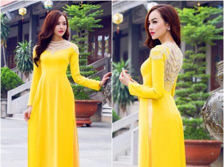 Áo dài cưới đẹp chất lụa màu vàng tươi nổi bật