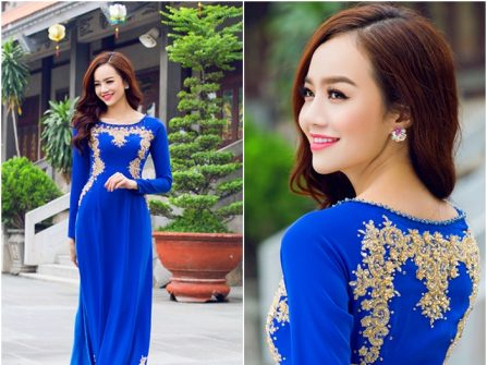 Áo dài cưới đẹp màu xanh Cobalt đính ren nổi ánh kim