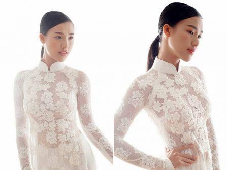 Áo dài cưới đẹp màu trắng chất ren hoa nổi xuyên thấu