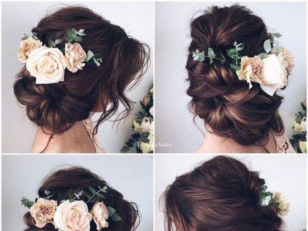 Tóc cô dâu đẹp bới rối kết hoa hồng lãng mạn