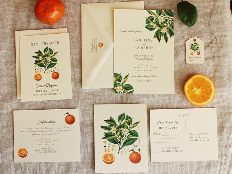thiệp cưới họa tiết trái cây 5