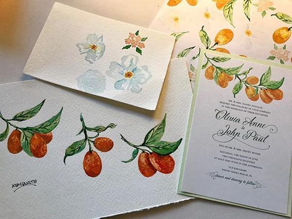 thiệp cưới họa tiết trái cây 2
