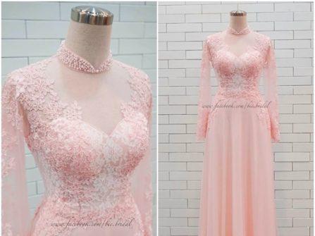 Áo dài cưới đẹp màu hồng phấn chất ren hoa quyến rũ