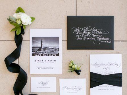 Thiệp cưới đẹp mang tông đen trắng đối lập