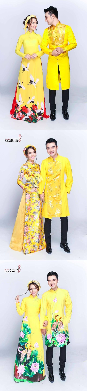Áo dài cưới đẹp cho đôi uyên ương mang sắc vàng lộng lẫy
