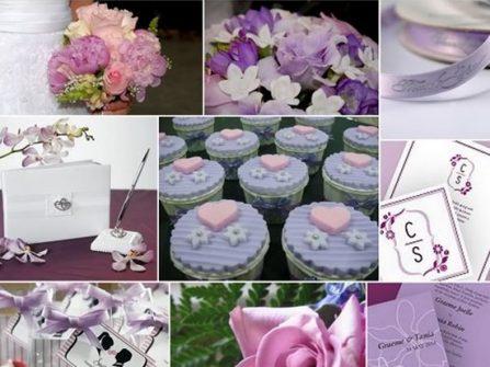 Theme cưới đẹp mang tông tím pastel lãng mạn, trẻ trung cho cặp đôi hiện đại