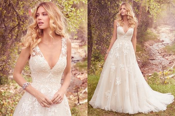 Váy cưới đẹp phủ đăng ten xẻ ngực sâu hút mắt
