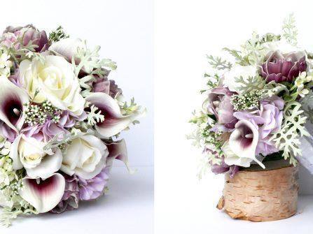 Hoa cưới đẹp: Kết hợp tông tím huyền ảo cùng sắc trắng  tinh khôi