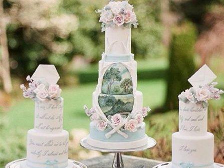 Bánh cưới đẹp vẽ tay phong cách lãng mạn cho tiệc cưới xuân hè