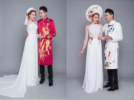 Diễn viên Minh Luân tình tứ với Hồ Bích Trâm trong trang phục áo dài cưới