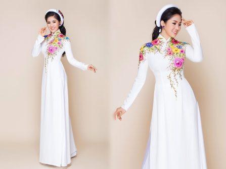 Áo dài cưới - Sắc trắng tinh khôi cùng họa tiết vẽ tay tinh xảo
