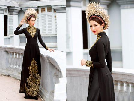 Áo dài cưới đẹp - Ấn tượng với sắc đen lạ lẫm cùng mấn đính ngọc