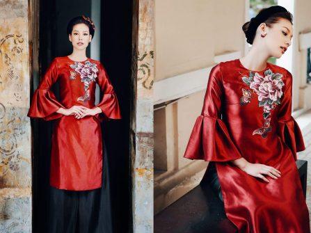 Áo dài cưới đẹp- Mẫu áo dài lụa đỏ vẽ tay tinh xảo