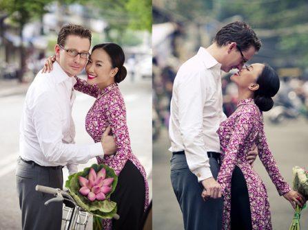 Hoa cầm tay cô dâu mặc áo dài đẹp trong hôn lễ sao Việt