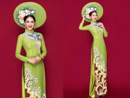 Áo dài cưới đẹp - Sắc xanh cốm ngọt lịm cùng họa tiết vẽ tay tinh xảo