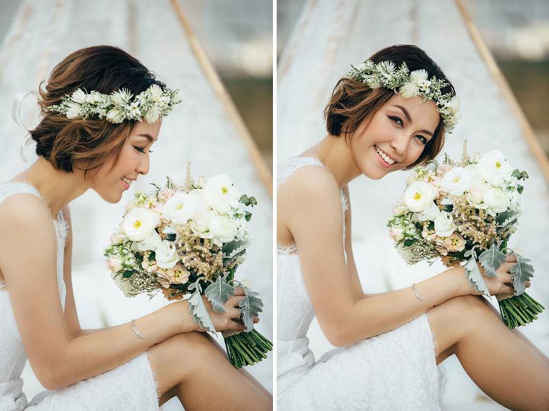 Kiểu tóc ngắn trẻ trung cho cô dâu cá tính và cổ điển