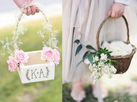 Lẵng hoa cưới đẹp cho đám cưới phong cách lãng mạn