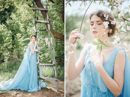 Váy cưới màu xanh thiên đường cho cô dâu mộng mơ