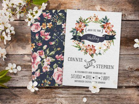 Thiệp cưới đẹp họa tiết hoa cỏ vintage cho đám cưới tháng 6