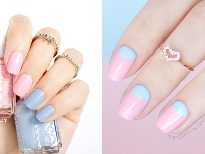 móng tay cô dâu màu thạch anh xanh hồng