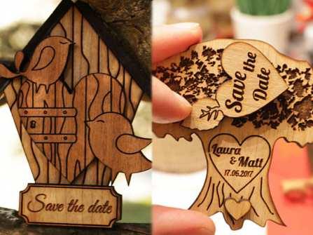 Thiệp cưới đẹp - Thiệp cưới khắc gỗ độc đáo, ấn tượng